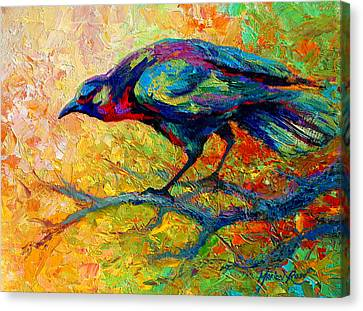 Tree Talk - Crow Canvas Print by Marion Rose