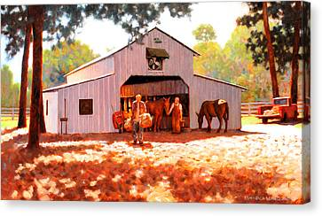 Treece Barn Canvas Print by Kevin Lawrence Leveque