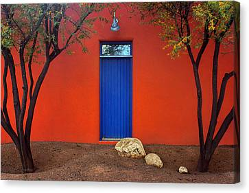 Trees And Door - Barrio Historico - Tucson Canvas Print by Nikolyn McDonald