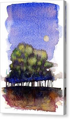 Trees At Moon Rise Canvas Print by John D Benson