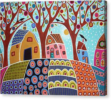 Trees Houses Barn And Birds Canvas Print by Karla Gerard