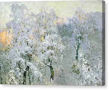 Trees In Wintry Silver Canvas Print by Konstantin Ivanovich Gorbatov