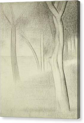Trees  Study For La Grande Jatte Canvas Print by Georges Pierre Seurat