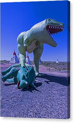 Trex And Triceratops  Canvas Print by Garry Gay