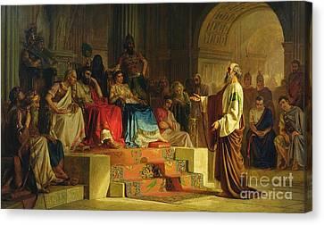 Trial Of The Apostle Paul Canvas Print by Nikolai K Bodarevski