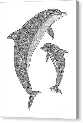 Tribal Bottle Nose Dolphin And Calf Canvas Print by Carol Lynne