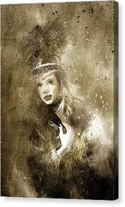 Tribal Girl In A Storm Canvas Print by Georgiana Romanovna