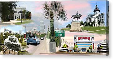 Tribute To Columbia Sc Canvas Print by Greg Joens