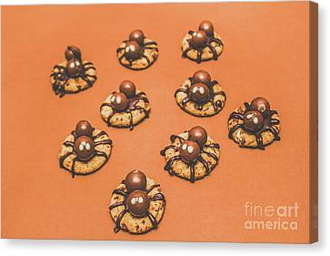 Trick Or Treat Halloween Spider Biscuits Canvas Print by Jorgo Photography - Wall Art Gallery