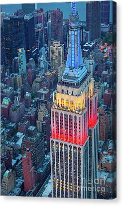Tricolor Empire State Building Canvas Print by Inge Johnsson