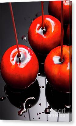 Trio Of Bright Red Home Made Candy Apples Canvas Print by Jorgo Photography - Wall Art Gallery