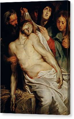 Triptych Of Christ On The Straw Canvas Print by Rubens