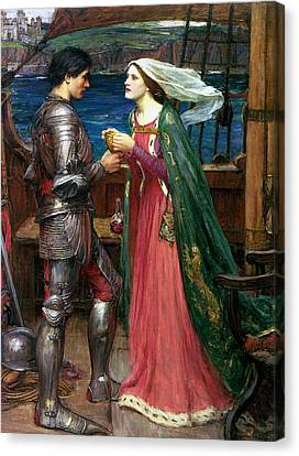Tristan And Isolde With The Potion Canvas Print by John William Waterhouse