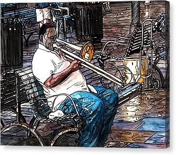 Trombone Player In Jackson Square Canvas Print by John Boles
