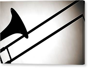 Trombone Silhouette Isolated Canvas Print by M K  Miller