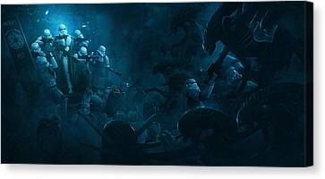 Troopers Vs Space Cockroaches 1 Canvas Print by Guillem H Pongiluppi