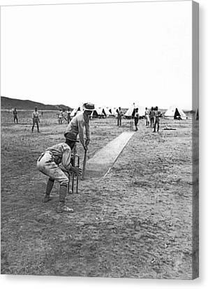 Troops Playing Cricket Canvas Print by Underwood Archives