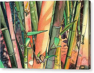 Tropical Bamboo Canvas Print by Marionette Taboniar