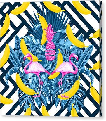 Tropical Banana Pink   Canvas Print by Mark Ashkenazi