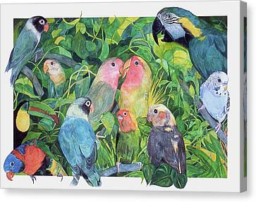 Tropical Feathers Canvas Print by Dee Van Houten