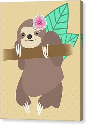 Tropical Sloth Illustration Canvas Print by Pati Photography