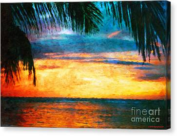 Tropical Sunset Canvas Print by Jerome Stumphauzer