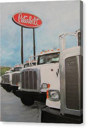 Trucks And Peterbilt Sign Canvas Print by Anita Burgermeister