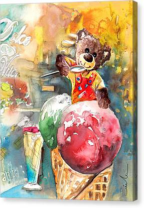 Truffle Mcfurry Eating Strawberry And Peppermint Ice Cream Canvas Print by Miki De Goodaboom