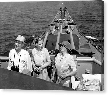 Truman Family At Sea Canvas Print by Underwood Archives