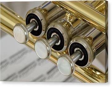 Trumpet Valves Canvas Print by Frank Tschakert