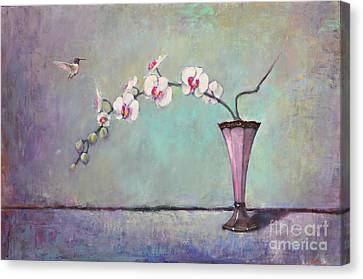Trumpet Vase And Orchid  Canvas Print by Lori  McNee