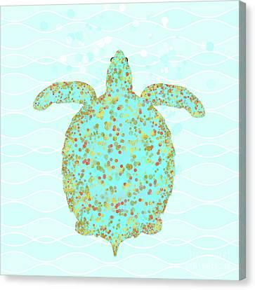 Tucker Turtle, Swimming Sea Turtle Coastal Art Canvas Print by Tina Lavoie