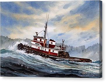 Tugboat Earnest Canvas Print by James Williamson