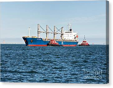 Tugboats And Oil Tanker Canvas Print by Inga Spence