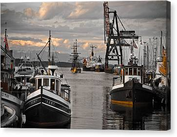 Tugs And Lady Washington Canvas Print by Craig Perry-Ollila