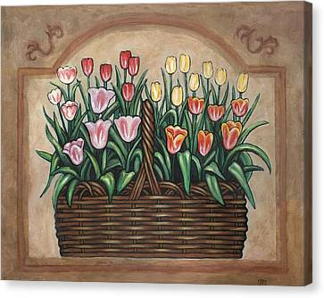 Tulip Basket Canvas Print by Linda Mears