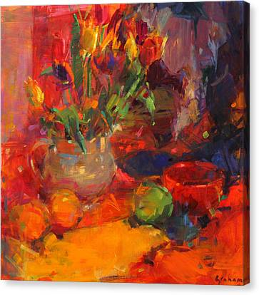 Tulip Table Canvas Print by Peter Graham