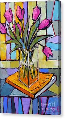 Tulips And Van Gogh - Abstract Still Life Canvas Print by Mona Edulesco