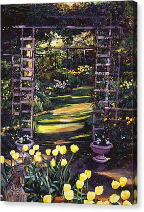 Tulips Of Gold Canvas Print by David Lloyd Glover
