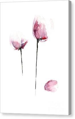 Tulips Watercolor Flower Art Print, Purple Home Decor, Pink Tulip Painting Canvas Print by Joanna Szmerdt