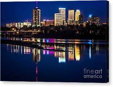 Tulsa Skyline At Twilight Canvas Print by Tamyra Ayles