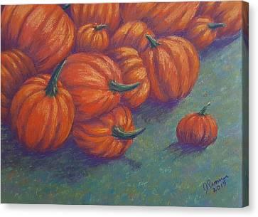 Tumbled Pumpkins Canvas Print by Joann Renner