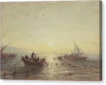 Tuna Fishing At Sunrise Off The Coast Near Marseilles Canvas Print by Felix Ziem