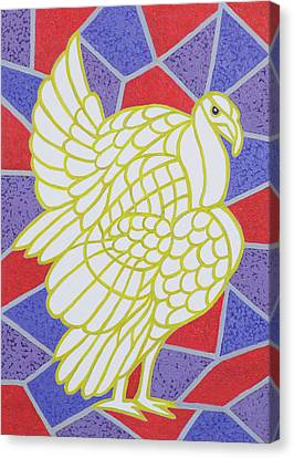 Turkey On Stained Glass Canvas Print by Pat Scott