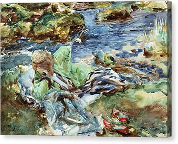 Turkish Woman By A Stream Canvas Print by John Singer Sargent