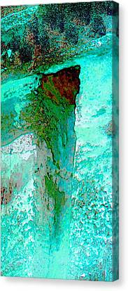Turquoise Abstract Textured Wall 2b Canvas Print by Sue Jacobi