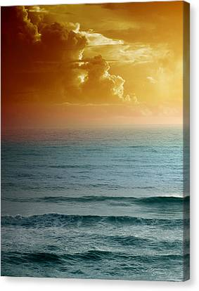 Turquoise Amber Sunrise Canvas Print by Maria Eames