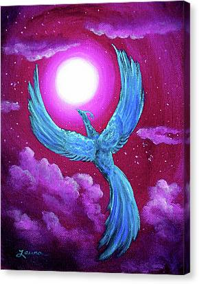 Turquoise Moon Phoenix Canvas Print by Laura Iverson