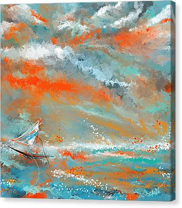 Turquoise Sail - Orange And Turquoise Abstract Art Canvas Print by Lourry Legarde