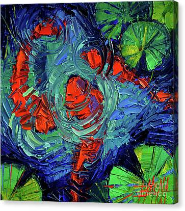Turquoise Swirls Canvas Print by Mona Edulesco